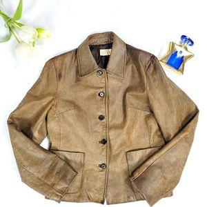 Vintage j crew brown leather jacket Button Front 8